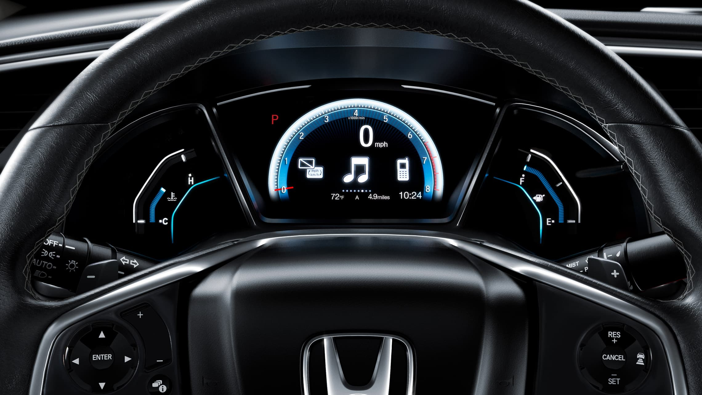 Driver Information Interface detail in the 2020 Honda Civic Touring Coupe.