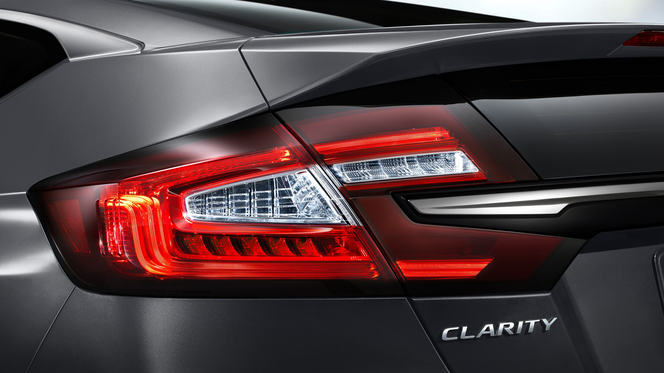 Detail of LED taillights on 2021 Clarity Plug-In Hybrid in Modern Steel Metallic.