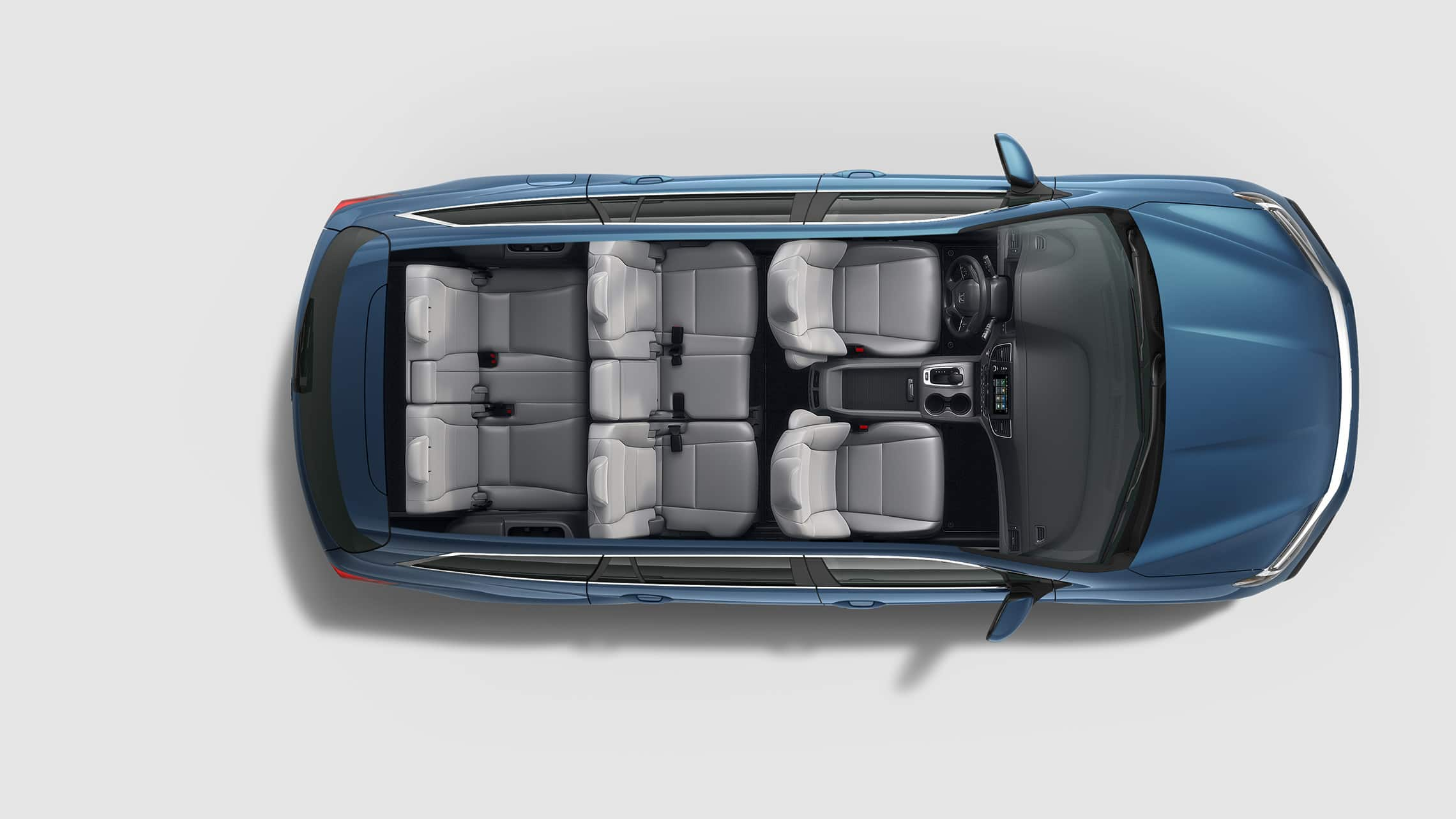 Overhead view of 2021 Honda Pilot Elite in Steel Sapphire Metallic with seating configurations.